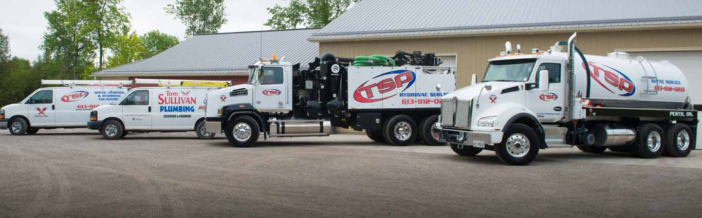 TSP Tom Sullivan Plumbing Septic & Hydrovac trucks